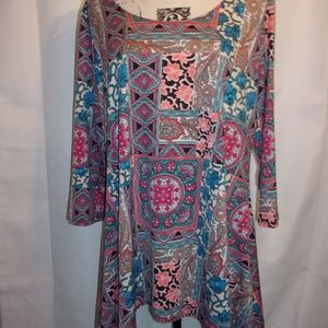 Sunny Leigh Sz XL Multi Pattern Tunic Top